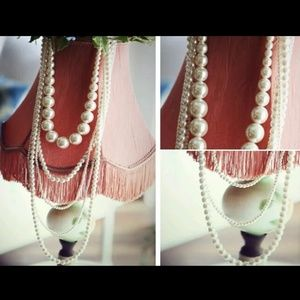 6 Layered multi strand pearl necklace